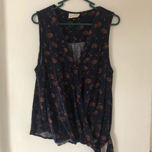 Floral Tie Front Wrap Style Tank Top